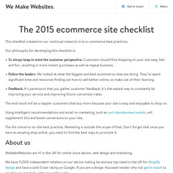 The 2015 Ecommerce Site Checklist