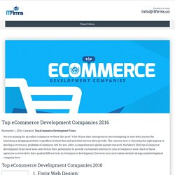 Top eCommerce Development Companies 2016 - IT Firms