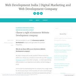 Choose a right eCommerce Website Development company – Web Development India
