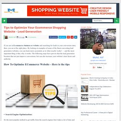 Tips to Optimize Your Ecommerce Shopping Website - Lead Generation