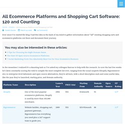 All Ecommerce Platforms and Shopping Cart Software: 120 and Counting