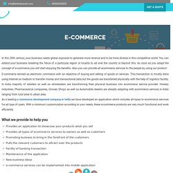 Ecommerce Services Provider and Development in India