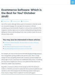 Ecommerce Software in 2016: Which is the Best for You?