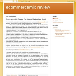ecommercemix review: Ecommerce Mix Review For Shopsy Marketplace Script
