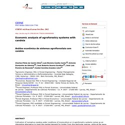 CERNE vol.18 no.4 Lavras Oct./Dec. 2012 Economic analysis of agroforestry systems with candeia