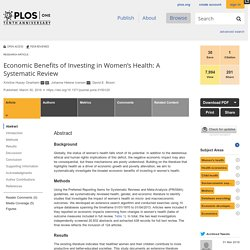 Economic Benefits of Investing in Women's Health: A Systematic Review