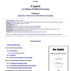 Economic Manuscripts: Capital: Volume One