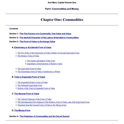 Economic Manuscripts: Capital Vol. I - Chapter One