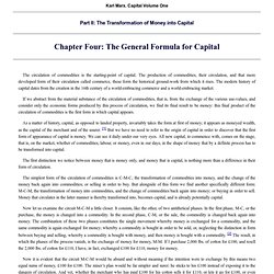 Economic Manuscripts: Capital Vol. I - Chapter Four