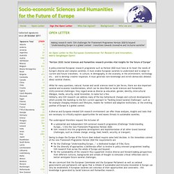 Open Letter - Socio-economic sciences and the humanities