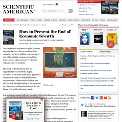 How to Prevent the End of Economic Growth