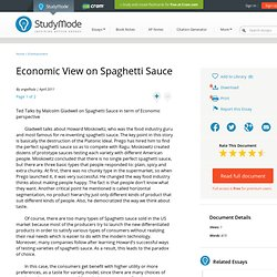 Economic View on Spaghetti Sauce - Research Papers - Angelhula