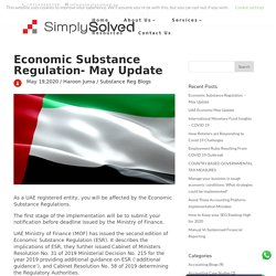 Economic Substance Regulation - May Update - Simply Solved