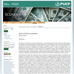 Qué es la ética económica