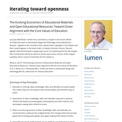 The Evolving Economics of Educational Materials and Open Educational Resources: Toward Closer Alignment with the Core Values of Education
