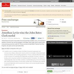 Economics: Jonathan Levin wins the John Bates Clark medal