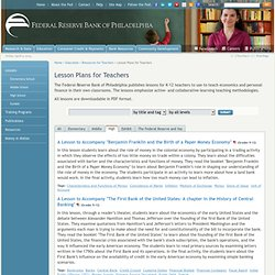 Teacher Lesson Plans – Economics and Personal Finance – Philadelphia Fed.