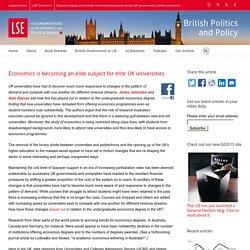 Economics is becoming an elite subject for elite UK universities