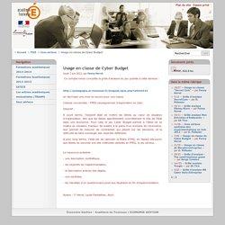 Usage en classe de Cyber Budget - Économie Gestion - Académie de Toulouse