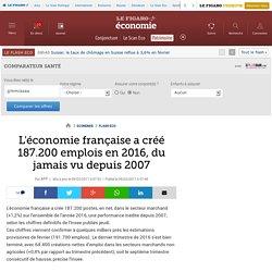 L'économie française a créé 187.200 emplois en 2016, du jamais vu depuis 2007