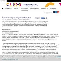 Économie des pure players d'information- CLEMI