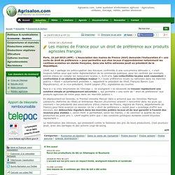 AFP 23/07/15 Crise de l'élevage Les maires de France pour un droit de préférence aux produits agricoles français