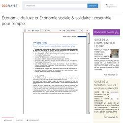 ⭐Économie du luxe et Économie sociale & solidaire : ensemble pour l'emploi