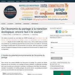 De l'économie du partage à la transition écologique : encore faut-il le vouloir!