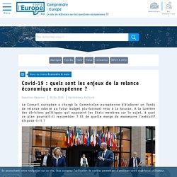 Covid-19 : quels sont les enjeux de la relance économique européenne ? - Economie & euro-Toute l'Europe