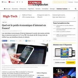 Quel est le poids économique d'internet en France?