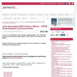 Liste des prépas HEC France / Maroc - CPGE Economiques et Commerciales