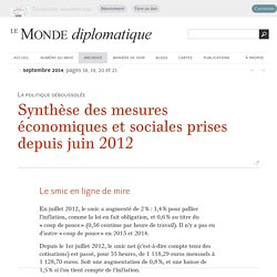 Synthèse des mesures économiques et sociales prises depuis juin 2012 en France (Le Monde diplomatique, septembre 2014)