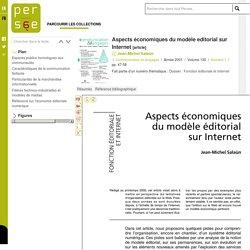 Aspects économiques du modèle editorial sur Internet