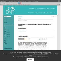 Quels modèles économiques et pédagogiques pour les MOOC?