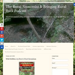 The Rural Economist & Bringing Rural Back Podcast: Wild Edibles #3 Dove's Foot Geranium