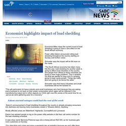 Economist highlights impact of load shedding:Sunday 2 November 2014