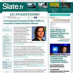 Slate - L'économiste française Esther Duflo va conseiller l'administration Obama