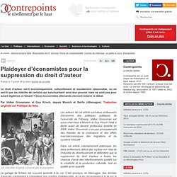Plaidoyer d'économistes pour la suppression du droit d'auteur - ContrepointsContrepoints