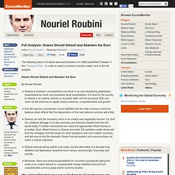 Nouriel Roubini's Global EconoMonitor » Full Analysis: Greece Should Default and Abandon the Euro