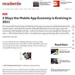 5 Ways the Mobile App Economy is Evolving in 2011