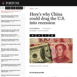 China's crash will bring the U.S. economy into recession