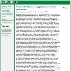 Relance et inflation: une approche quantitative