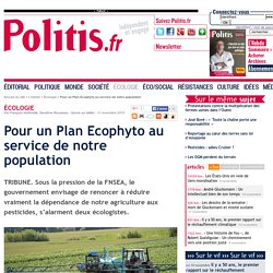 Pour un Plan Ecophyto au service de notre population