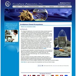Ecosphere Associates, Inc.: Closed Ecosystem, Self Contained Aquarium