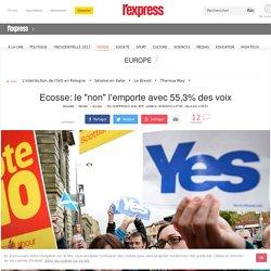 """Ecosse: le """"non"""" l'emporte avec 55,3% des voix"""