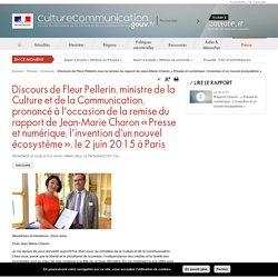Discours de Fleur Pellerin pour la remise du rapport de Jean-Marie Charon « Presse et numérique, l'invention d'un nouvel écosystème »