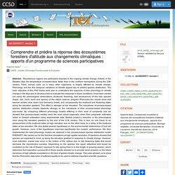 UNIVERSITE DE MONTPELLIER 15/11/18 Thèse en ligne : Comprendre et prédire la réponse des écosystèmes forestiers d'altitude aux changements climatiques : apports d'un programme de sciences participatives