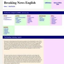 Breaking News English ESL Lesson Plan on Ecotourism