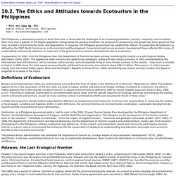 10.2. The Ethics and Attitudes towards Ecotourism in the Philippines