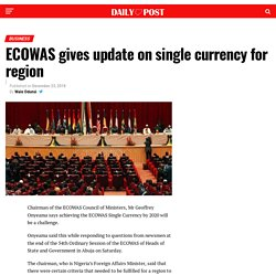 ECOWAS gives update on single currency for region
